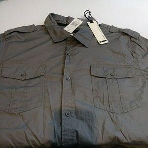 NWT Mens 100% Cotton LS Button-Up Shirt XL